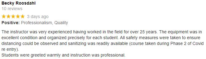 Five star Google review for Safe + Sound First Aid Training, from first aid training client, June 2020